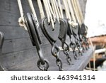 Ancient Wooden Sailboat Pulley...