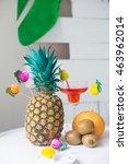 pineapple  kiwi  summer drink | Shutterstock . vector #463962014