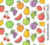 fruit sticker seamless vector...   Shutterstock .eps vector #463977623