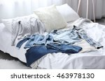 family clothes on the bed | Shutterstock . vector #463978130