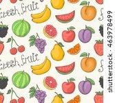 fresh fruit vector pattern... | Shutterstock .eps vector #463978499