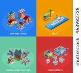 isometric city 2x2 icons set... | Shutterstock .eps vector #463982738