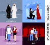 happy couples spending time... | Shutterstock .eps vector #463982804