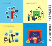 filmmaking concept 4 flat icons ... | Shutterstock .eps vector #463982888