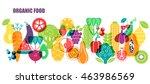 vector pattern of vegetables.... | Shutterstock .eps vector #463986569