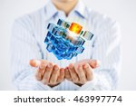 cube in male hand . mixed media | Shutterstock . vector #463997774