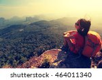 young asian woman hiker enjoy... | Shutterstock . vector #464011340