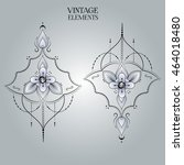 rounded ornament elements.... | Shutterstock .eps vector #464018480