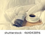 cup of coffee and newspaper... | Shutterstock . vector #464043896