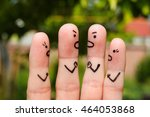Small photo of Finger art of people during quarrel.