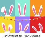 set of easter bunny ears  with... | Shutterstock .eps vector #464060066