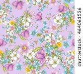 pattern of wildflowers on... | Shutterstock . vector #464061536