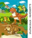 cartoon happy dinosaurs  ...   Shutterstock . vector #464068973