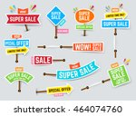 set of super sale banners. sale ... | Shutterstock .eps vector #464074760