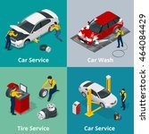mechanic and car repair. flat... | Shutterstock .eps vector #464084429