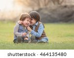 brothers hugging. two boys... | Shutterstock . vector #464135480