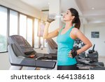 workout on a treadmill at gym . ... | Shutterstock . vector #464138618