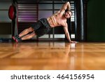 exercising abs side plank hip... | Shutterstock . vector #464156954