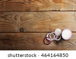 red onions cut into slices on a ... | Shutterstock . vector #464164850