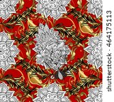 seamless vintage pattern on red ... | Shutterstock . vector #464175113