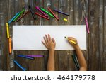 child draws in a notebook | Shutterstock . vector #464179778