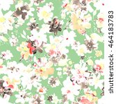 watercolor floral seamless... | Shutterstock . vector #464183783