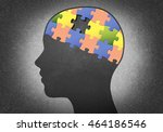 Stock photo silhouette head with the brain puzzle where one piece missing 464186546