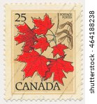 Small photo of ST. PETERSBURG, RUSSIA - AUGUST 2, 2016: A postmark printed in CANADA, shows Acer saccharum (sugar maple or rock maple), circa 1977