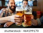 Stock photo people men leisure friendship and celebration concept happy male friends drinking beer and 464199170