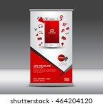 red roll up banner  banner...   Shutterstock .eps vector #464204120