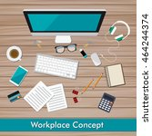 workplace concept and business... | Shutterstock .eps vector #464244374