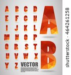 low poly alphabet  vector... | Shutterstock .eps vector #464261258