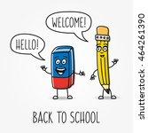 pencil and eraser cartoon... | Shutterstock .eps vector #464261390