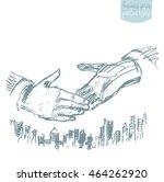 handshake of businessmen.... | Shutterstock .eps vector #464262920