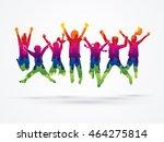 group of children jumping  ... | Shutterstock .eps vector #464275814