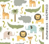 safari animals seamless pattern ... | Shutterstock .eps vector #464299010