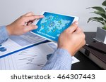 Small photo of SCM Supply Chain Management concept man using tablet computer, Marketing data paper3