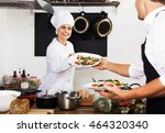 cheerful female cook in uniform ... | Shutterstock . vector #464320340