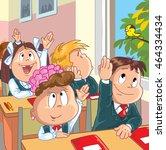 kids in the school. cartoon... | Shutterstock .eps vector #464334434