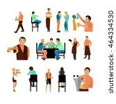 set of beer bar workers and... | Shutterstock . vector #464334530