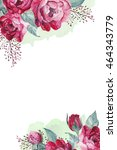 watercolor peony frame and... | Shutterstock . vector #464343779