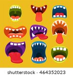 monster mouths. funny facial... | Shutterstock .eps vector #464352023