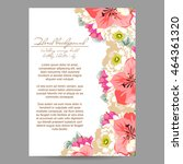invitation with floral... | Shutterstock . vector #464361320