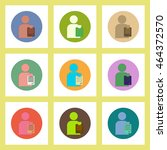 flat icons set of back to... | Shutterstock .eps vector #464372570