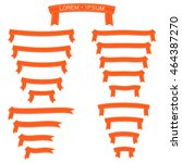 the set of orange paper ribbons ... | Shutterstock .eps vector #464387270