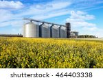 four silver silos in a wheat... | Shutterstock . vector #464403338