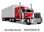 red semi truck with trailer... | Shutterstock .eps vector #464430413