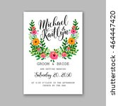 wedding invitation or card with ... | Shutterstock .eps vector #464447420