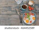 breakfast consists of fried... | Shutterstock . vector #464452589