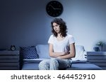 woman with stomach pain sitting ... | Shutterstock . vector #464452910